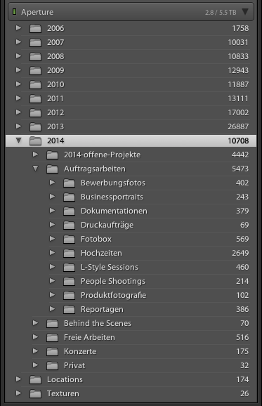 Datenstruktur in Lightroom